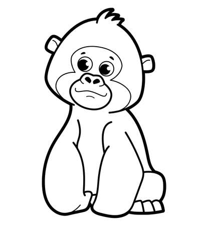 Coloring book or page for kids. gorilla black and white vector illustration Vectores