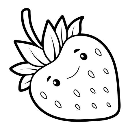Coloring book or page for kids. Strawberry black and white vector illustration Vectores