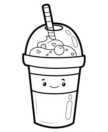 Coloring book or page for kids. drink black and white vector illustration