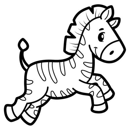 Coloring book or page for kids. Zebra black and white vector illustration