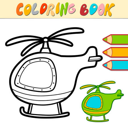 Coloring book or page for kids. helicopter black and white vector illustration Illustration