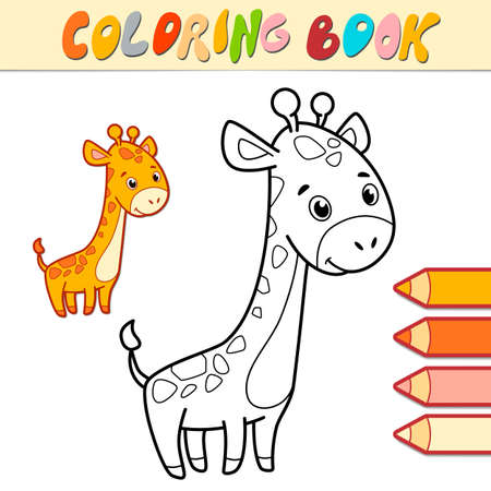 Coloring book or page for kids. giraffe black and white vector illustration Illustration