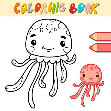 Coloring book or page for kids. jellyfish black and white vector illustration