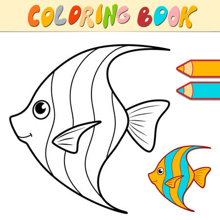 Coloring book or page for kids. fish black and white vector illustration Illustration
