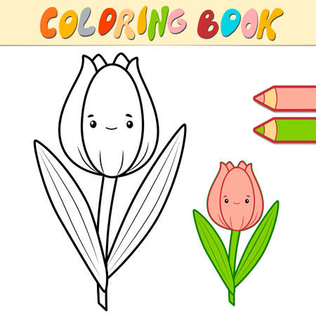 Coloring book or page for kids. tulip black and white vector illustration