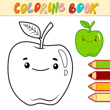 Coloring book or page for kids. apple black and white vector illustration Illustration
