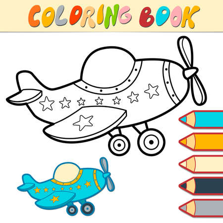 Coloring book or page for kids. plane black and white vector illustration