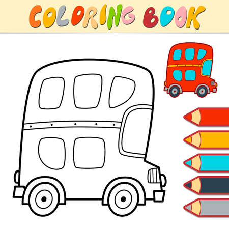 Coloring book or page for kids. bus black and white vector illustration