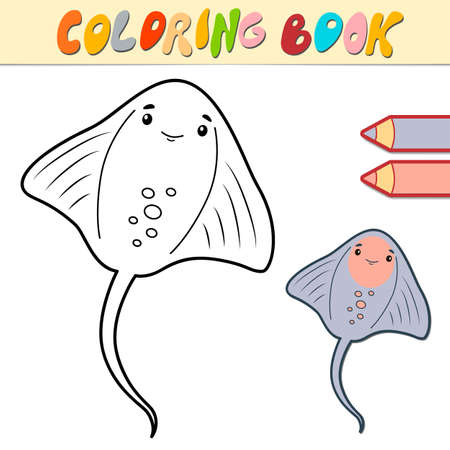 Coloring book or page for kids. cramp-fish black and white vector illustration