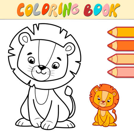 Coloring book or page for kids. lion black and white vector illustration