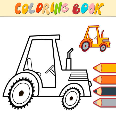 Coloring book or page for kids. tractor black and white vector illustration Illustration