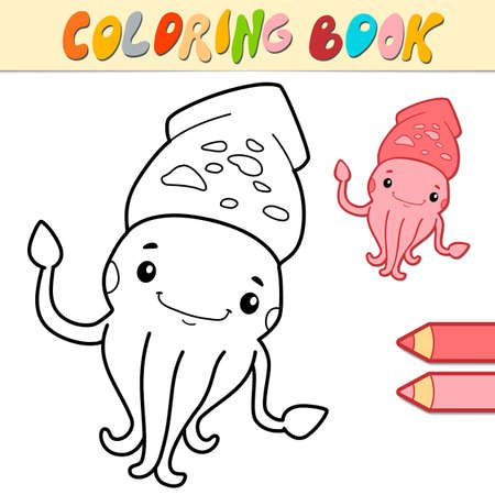 Coloring book or page for kids. squid black and white vector illustration Illustration
