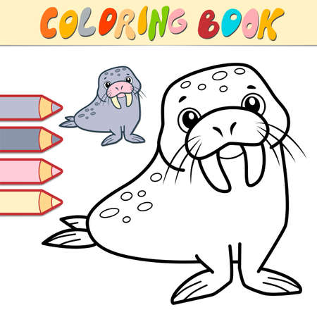 Coloring book or page for kids. walrus black and white vector illustration