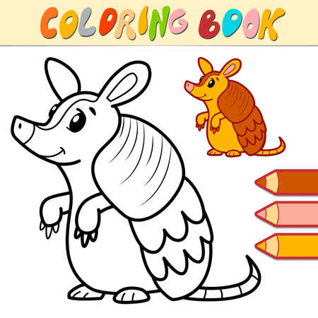 Coloring book or page for kids. armadillo black and white vector illustration