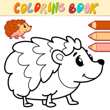 Coloring book or page for kids. hedgehog black and white vector illustration