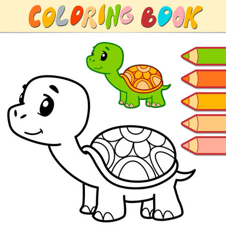 Coloring book or page for kids. turtle black and white vector illustration