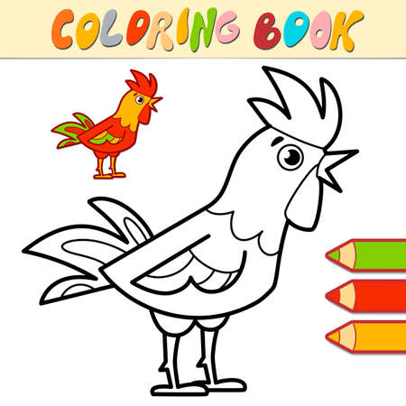 Coloring book or page for kids. cock black and white vector illustration