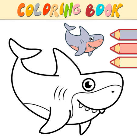 Coloring book or page for kids. shark black and white vector illustration Illustration