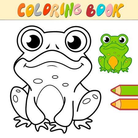 Coloring book or page for kids. frog black and white vector illustration