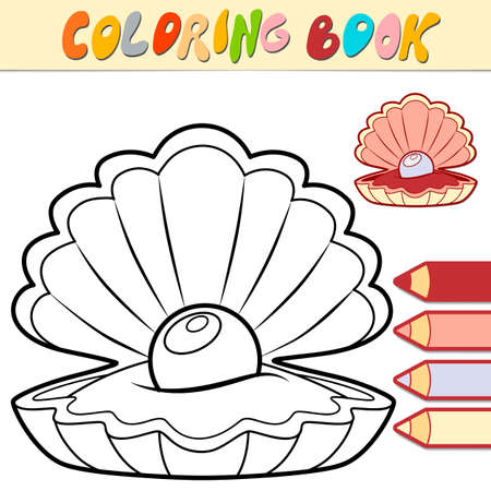 Coloring book or page for kids. shell black and white vector illustration Illustration