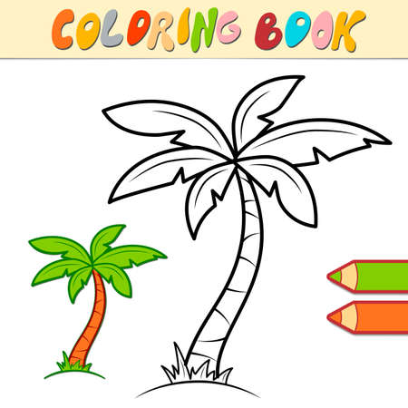 Coloring book or page for kids. palm black and white vector illustration Illustration