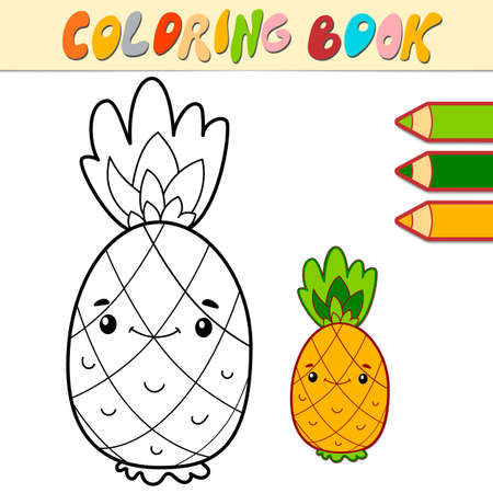 Coloring book or page for kids. pineapple black and white vector illustration Illustration