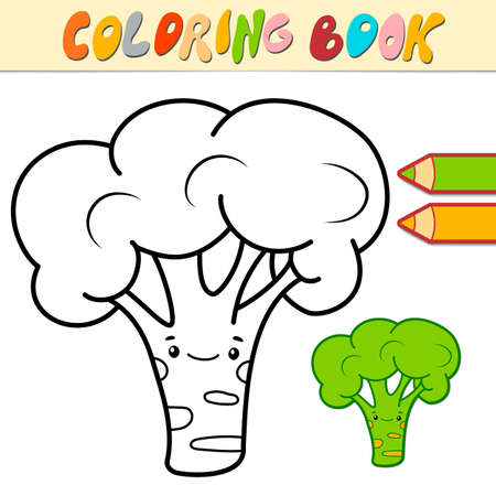 Coloring book or page for kids. broccoli black and white vector illustration Illustration