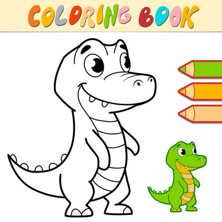 Coloring book or page for kids. crocodile black and white vector illustration
