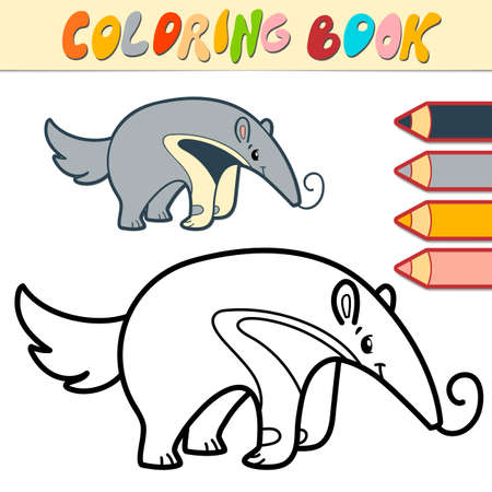 Coloring book or page for kids. ant-eater black and white vector illustration