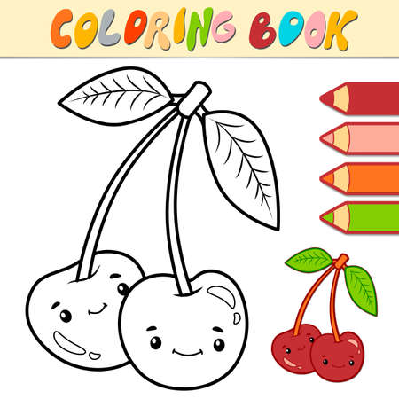 Coloring book or page for kids. cherry black and white vector illustration Illustration