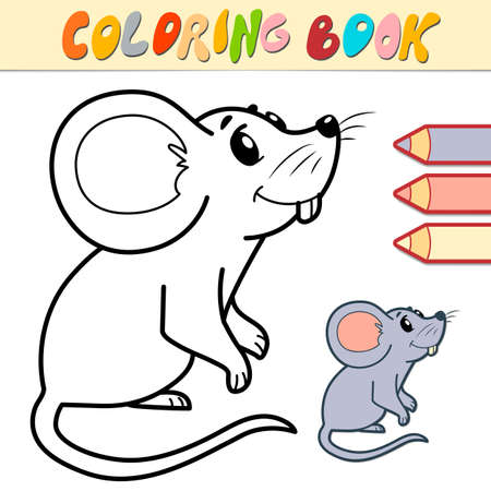 Coloring book or page for kids. mouse black and white vector illustration