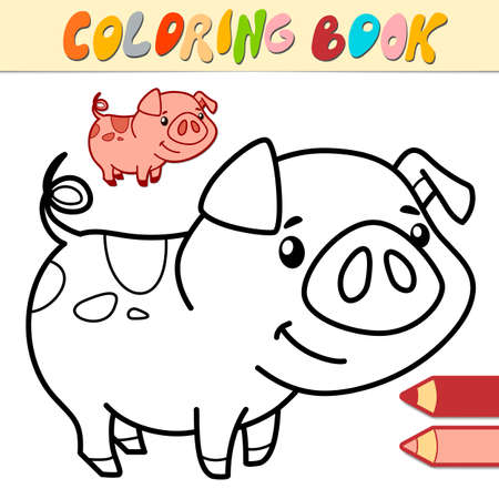 Coloring book or page for kids. pig black and white vector illustration Illustration