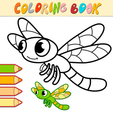 Coloring book or page for kids. dragonfly black and white vector illustration