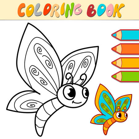 Coloring book or page for kids. butterfly black and white vector illustration Illustration