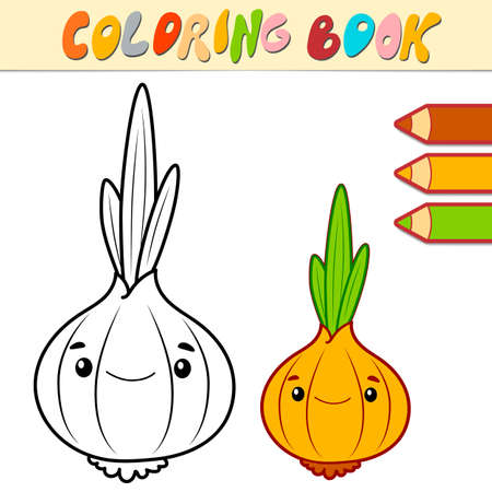 Coloring book or page for kids. onion black and white vector illustration Illustration