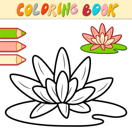 Coloring book or page for kids. lotus black and white vector illustration