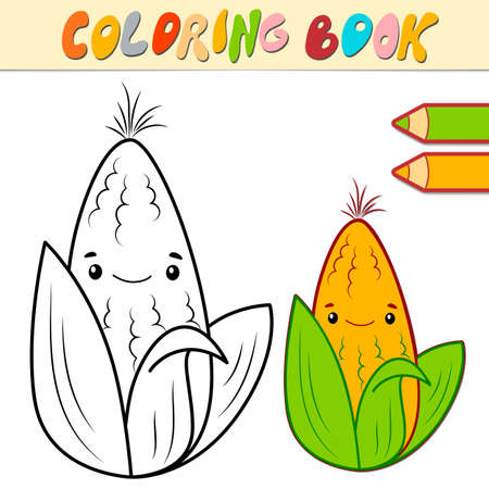 Coloring book or page for kids. corn black and white vector illustration