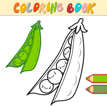 Coloring book or page for kids. peas black and white vector illustration