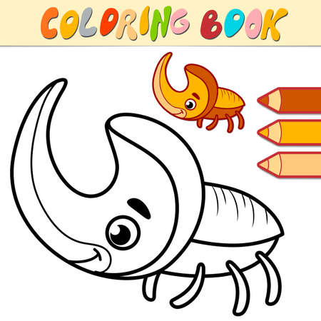 Coloring book or page for kids. rhinoceros beetle black and white vector illustration
