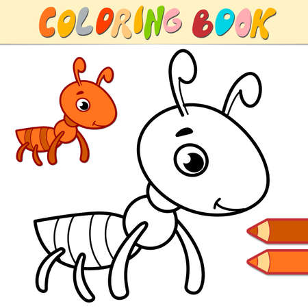 Coloring book or page for kids. ant black and white vector illustration