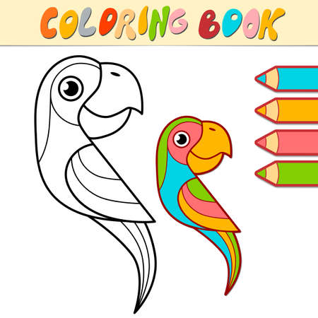 Coloring book or page for kids. parrot black and white vector illustration Illustration