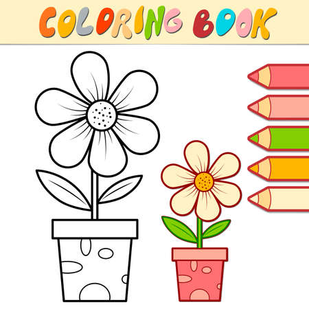 Coloring book or page for kids. potted flower black and white vector illustration Illustration