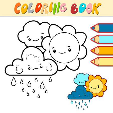 Coloring book or page for kids. sun and cloud black and white vector illustration Illustration