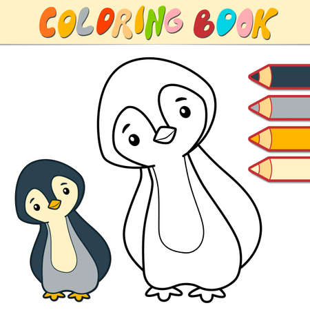 Coloring book or page for kids. penguin black and white vector illustration Illustration