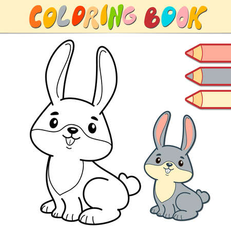 Coloring book or page for kids. rabbit black and white vector illustration Illustration