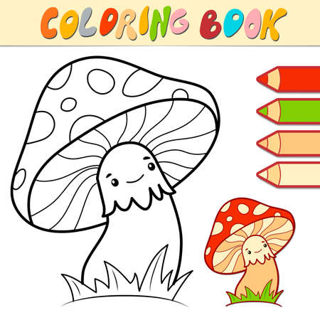 Coloring book or page for kids. mushroom black and white vector illustration