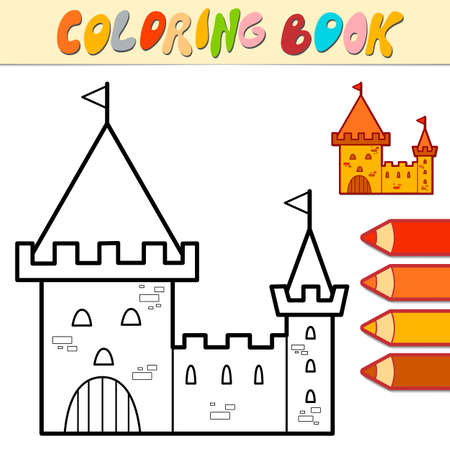 Coloring book or page for kids. castle black and white vector illustration Illustration
