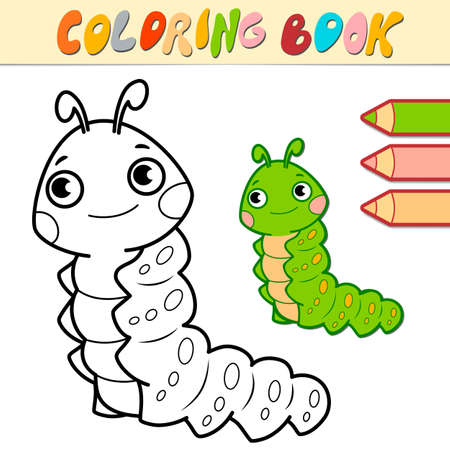 Coloring book or page for kids. caterpillar black and white vector illustration Illustration