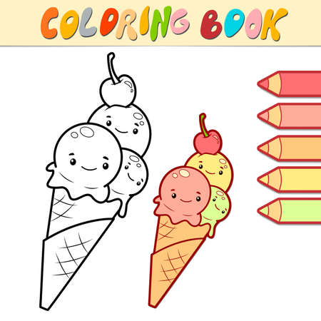 Coloring book or page for kids. ice cream black and white vector illustration