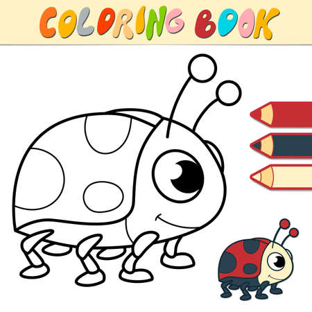 Coloring book or page for kids. ladybug black and white vector illustration